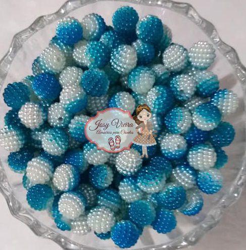 Pérola CRAQUELADA 500g Tam 10 Azul e Branco