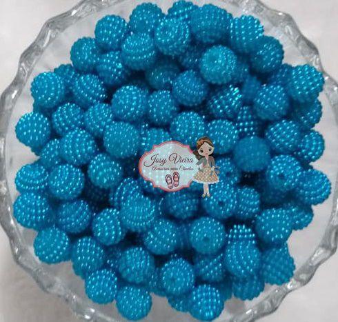 Pérola CRAQUELADA 500g Tam 10 Azul Médio