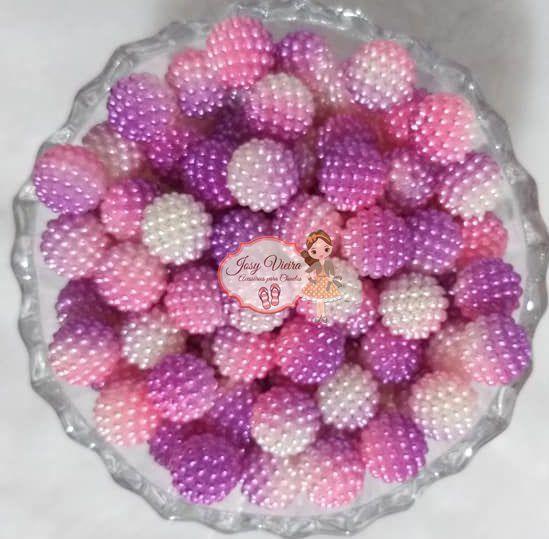 Pérola CRAQUELADA 500g Tam 12 Lilás, Rosa e Branco