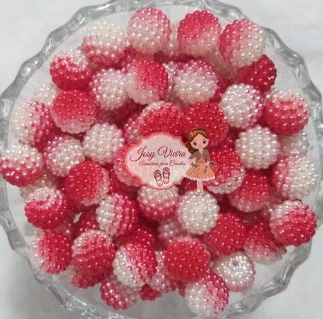Pérola CRAQUELADA 500g Tam 12 Vermelha e branco