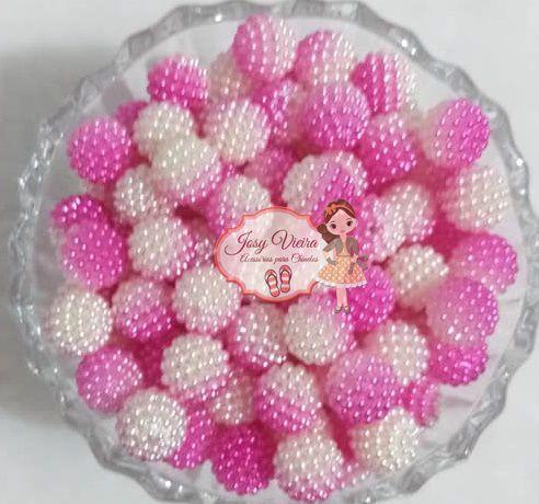 Pérolas ABS CRAQUELADA MESCLADA TAM 12 Cor Pink e Branco 100g