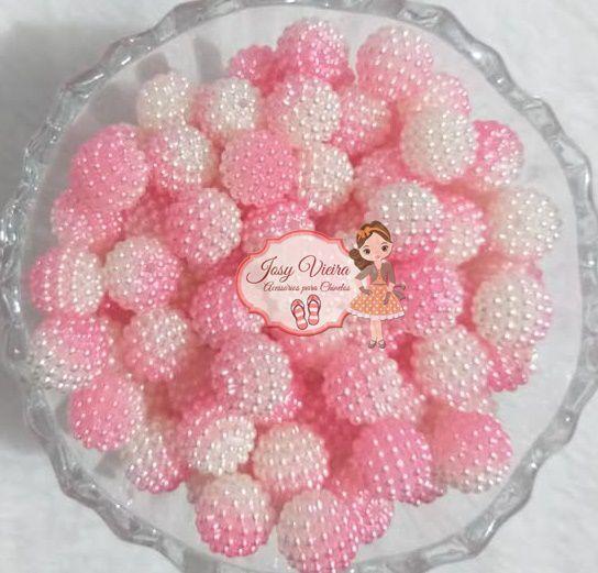Pérolas ABS CRAQUELADA MESCLADA TAM 12 Cor Rosa e Branco 100g