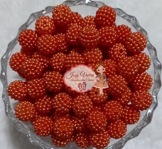Pérolas ABS CRAQUELADA MESCLADA TAM 12 laranja escuro 100g