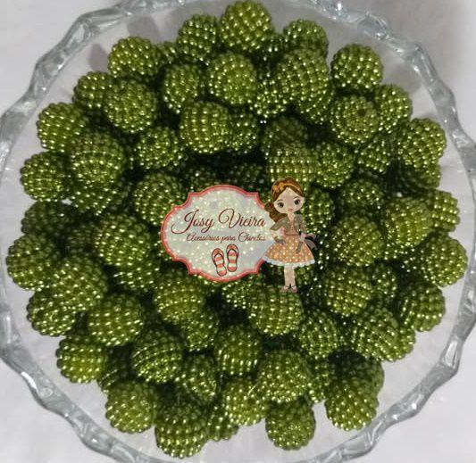 Pérolas ABS CRAQUELADA TAM 10 Cor Verde musgo 100g