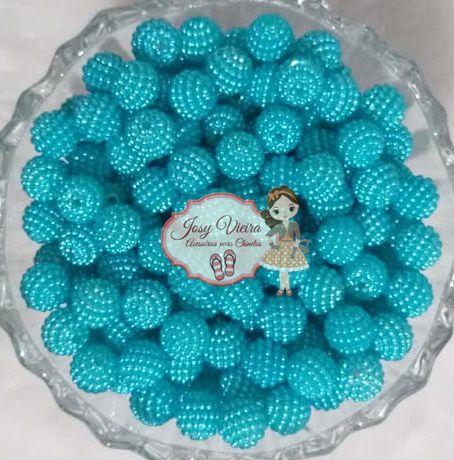 Pérolas ABS CRAQUELADAS TAM 10 Cor Azul Bebê 100g