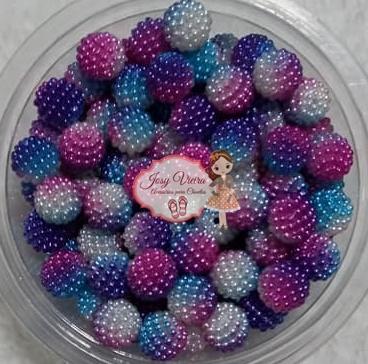 Pérolas CRAQUELADA Mesclada Pink e azul TAM 12 100g
