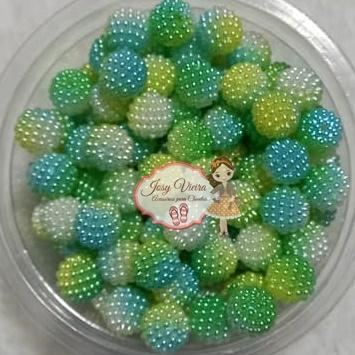 Pérolas CRAQUELADA Mesclada Verde e azul TAM 12 100g