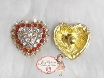 Pingente Coração com pedra vermelha(Par)