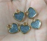 Pingente Coração Dourado com prata (Unidade)