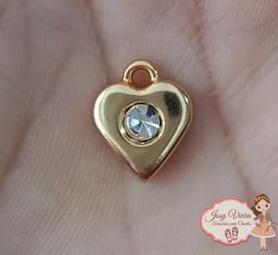 Pingente coração Dourado com strass(1unidade)