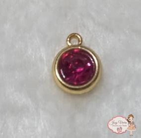 Pingente dourado com pedra Pink(1Unidade)