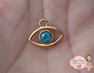 Pingente olho grego com pedra azul claro(1 Unidade)