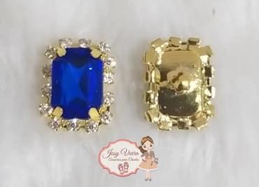 Pingente Pedra quadrada Azul(Par)