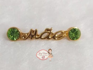 Plaquinha MÃE Dourado com strass Verde Limão (Par)