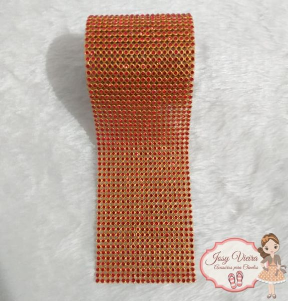 Rolinho de Manta Dourada com  Vermelho(1,20x6cm)