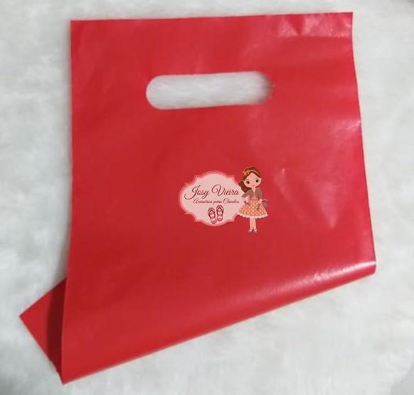 Sacola plástica vermelha Boca de palhaço 20x30 (10 Unidades)