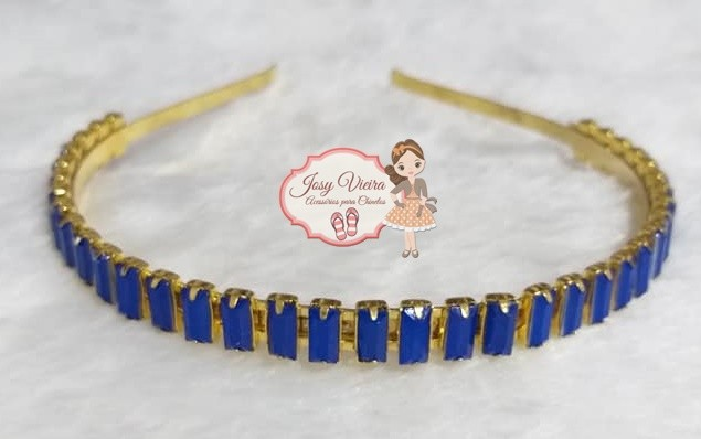 Tiara BANHADA Azul com Pedras Quadradas