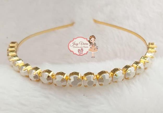 Tiara BANHADA Dourada com Pérolas redondas