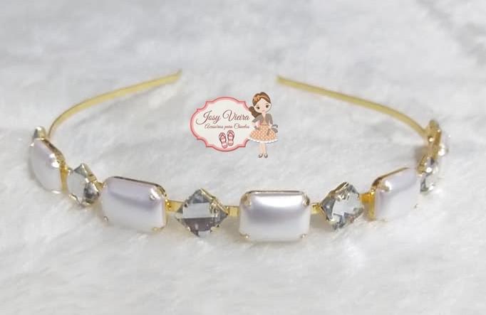 Tiara BANHADA Pérola Branca com Cristal