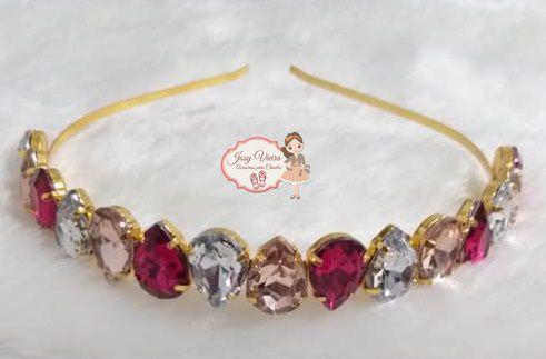 Tiara Gota BANHADA Cristal, rosa e pink