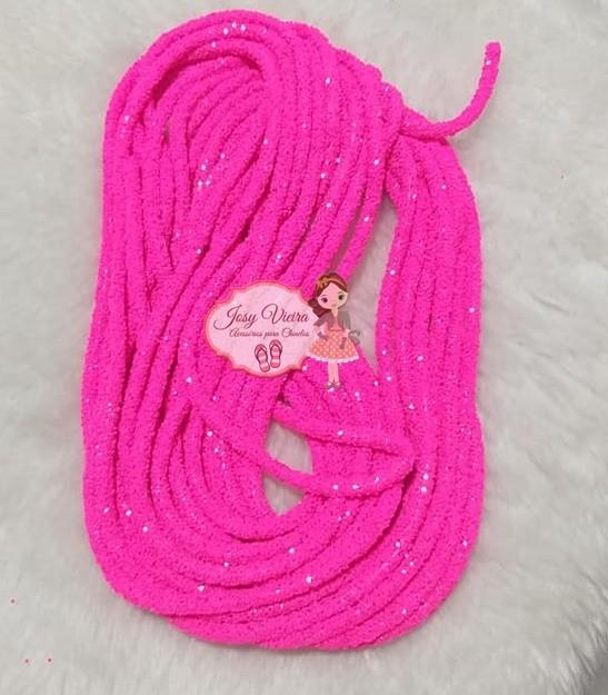 Tubo de PVC com  Glitter Rosa Neon (1metro e 20cm)