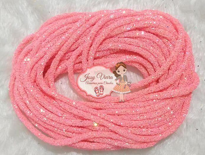 Tubo de PVC com  Glitter Rosa (1m e 20cm)