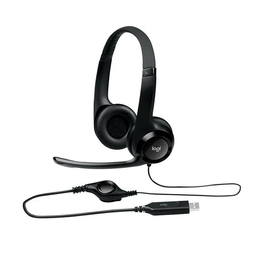 HEADSET H390 LOGITECH AUDIO DIGITAL USB EM COURO - PRETO