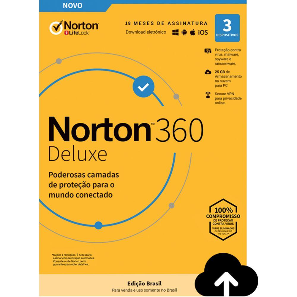 NORTON 360 DELUXE 3 APARELHOS SEGURANÇA 18 MESES PROTEÇÃO E SEGURANÇA PARA WINDOWS ANDROID APPLE