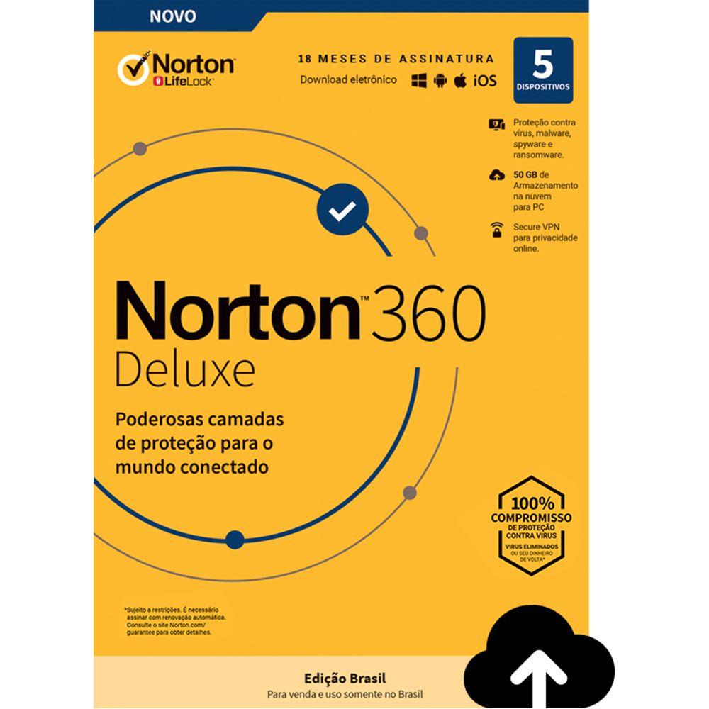 NORTON 360 DELUXE 50GB 1 USUÁRIO 5 DISPOSITIVOS 18 MESES PROTEÇÃO E SEGURANÇA PARA WINDOWS ANDROID APPLE