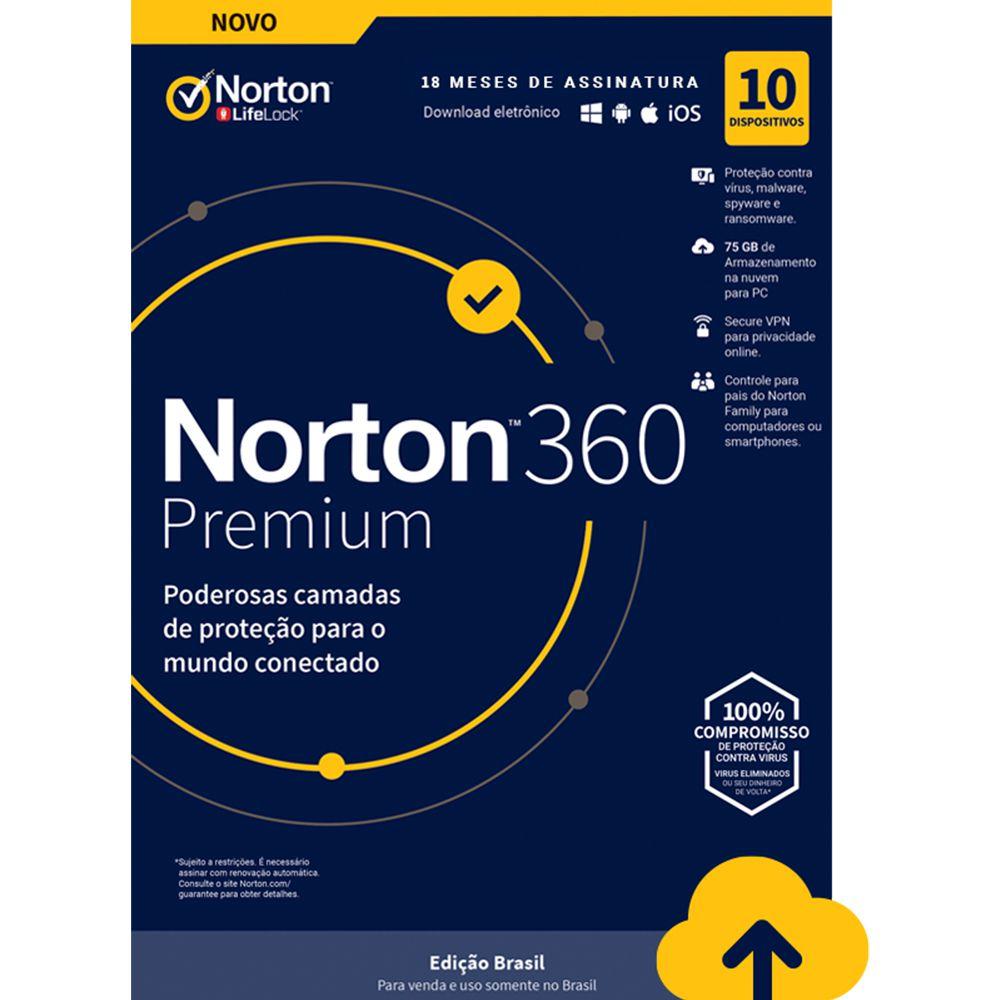NORTON 360 PREMIUM 1 USUÁRIO 10 APARELHOS SEGURANÇA 18 MESES PROTEÇÃO E SEGURANÇA PARA WINDOWS ANDROID APPLE
