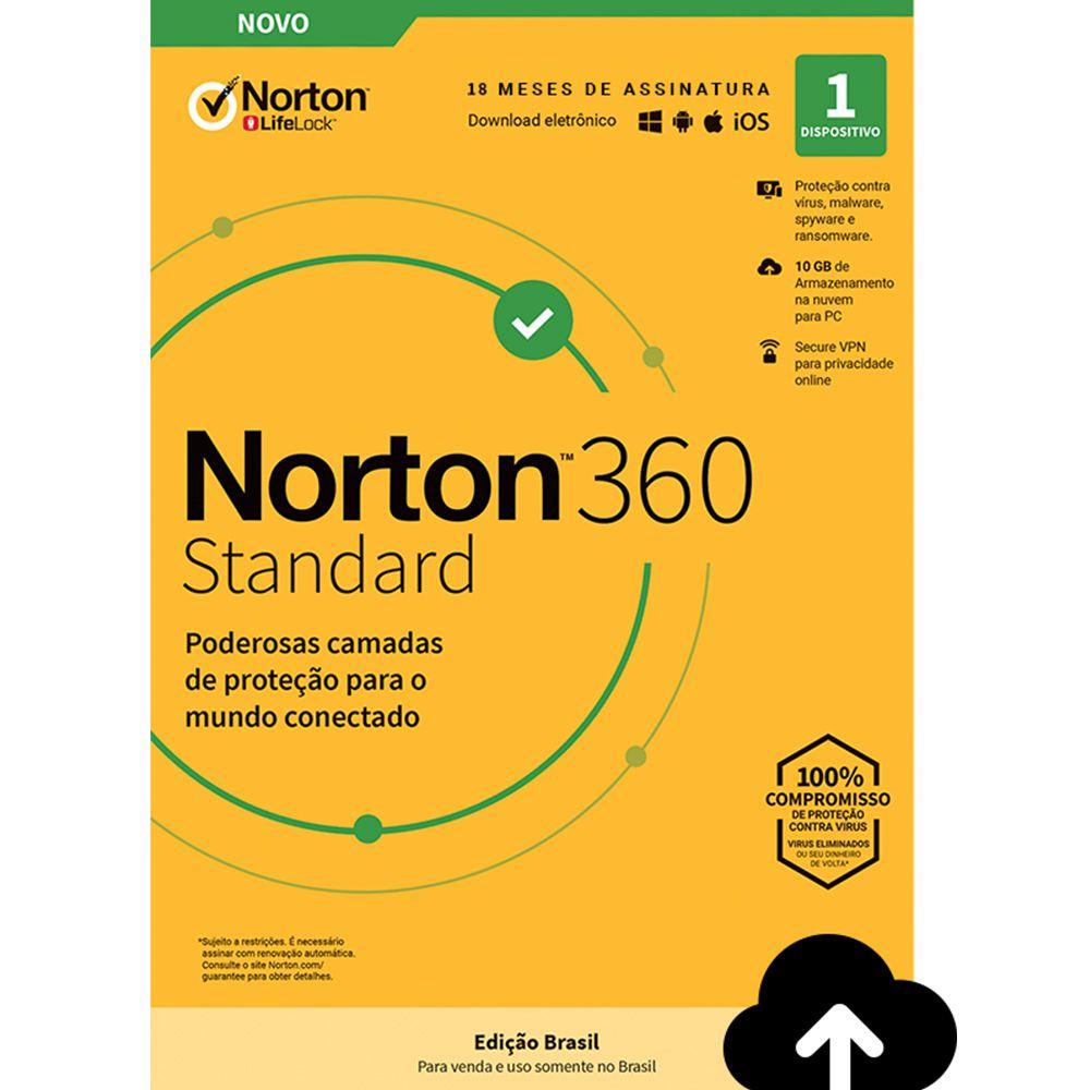 NORTON 360 STANDARD 18 MESES PROTEÇÃO E SEGURANÇA PARA WINDOWS ANDROID APPLE