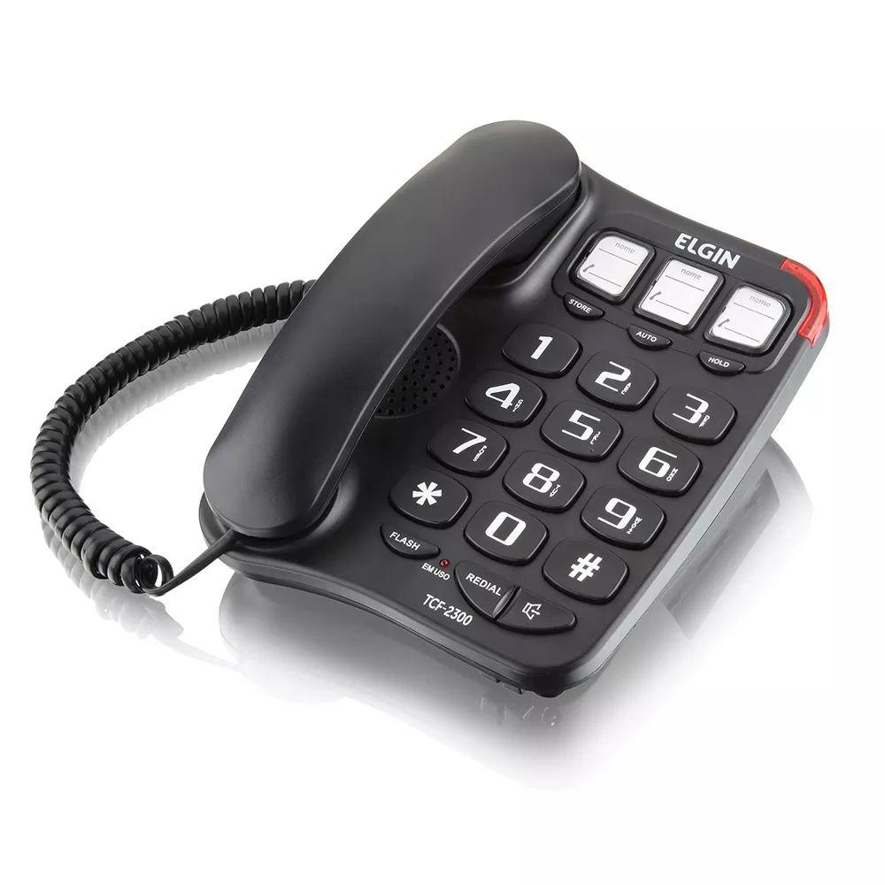 TELEFONE DE MESA COM FIO VIVA VOZ MEMÓRIA TCF 2300 ELGIN