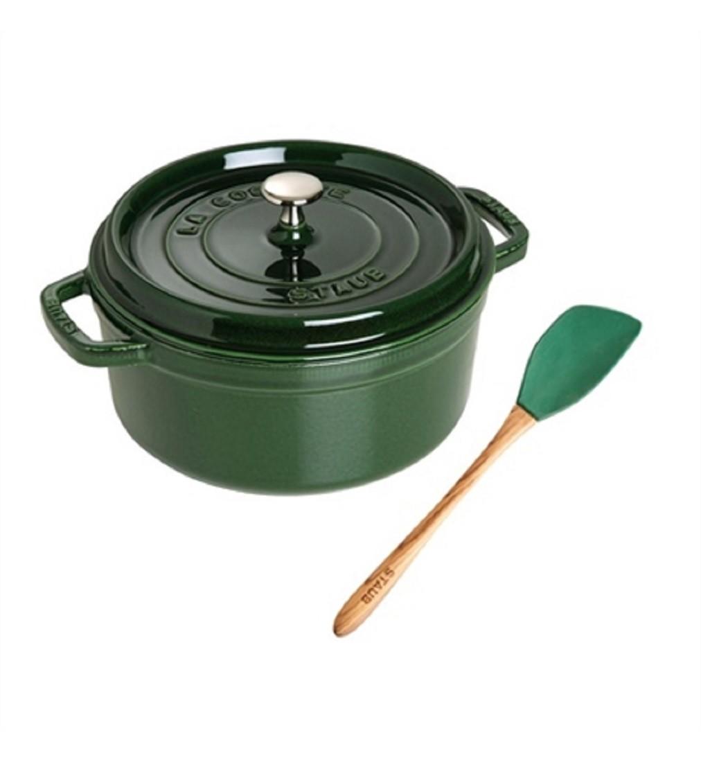 Caçarola Ferro Redonda 26cm Verde + Espátula Silicone Staub