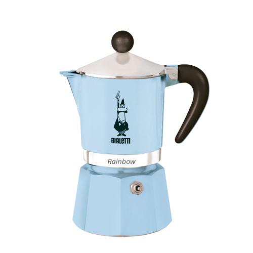 Cafeteira Bialetti Moka Rainbow 3 Cups Italiana Azul Claro