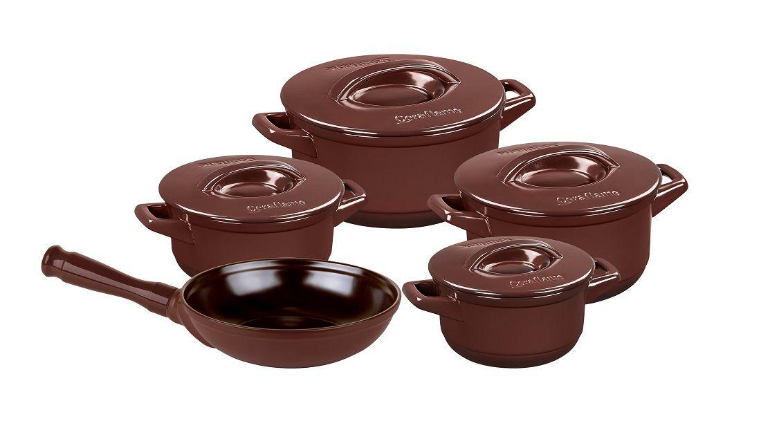 Conjunto De Panelas De Cerâmica Duo+ Ceraflame 5Pç Chocolate