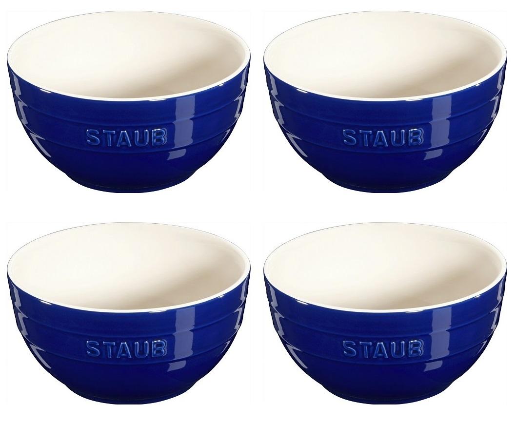 Jogo de 4 Bowls Em Cerâmica Staub 17 cm Azul Marinho