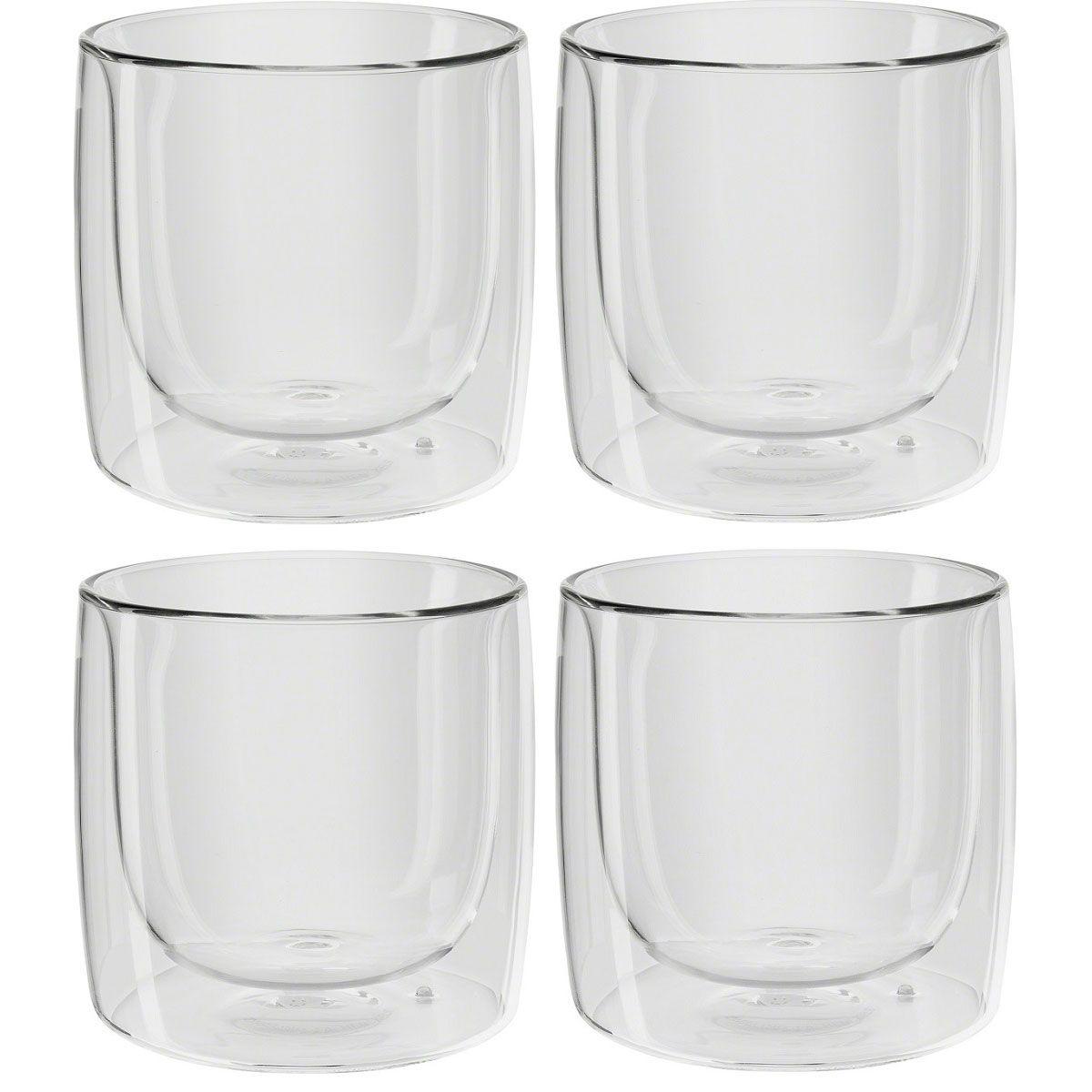 Jogo de 4 Copos Zwilling Vidro Parede Dupla Para Whisky 266ml