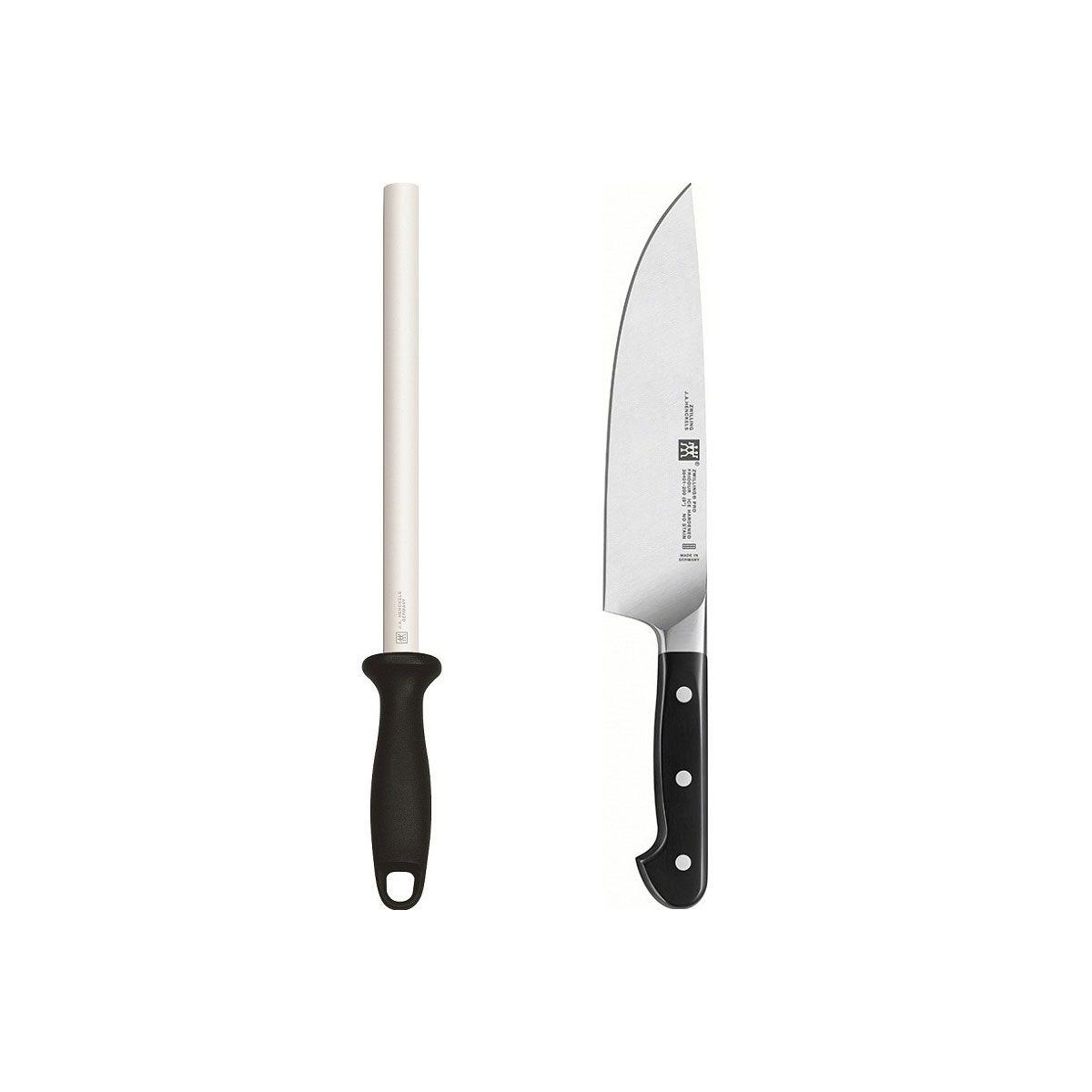 Kit Chaira Diamantada e Faca do Chef 8 Zwilling Pro