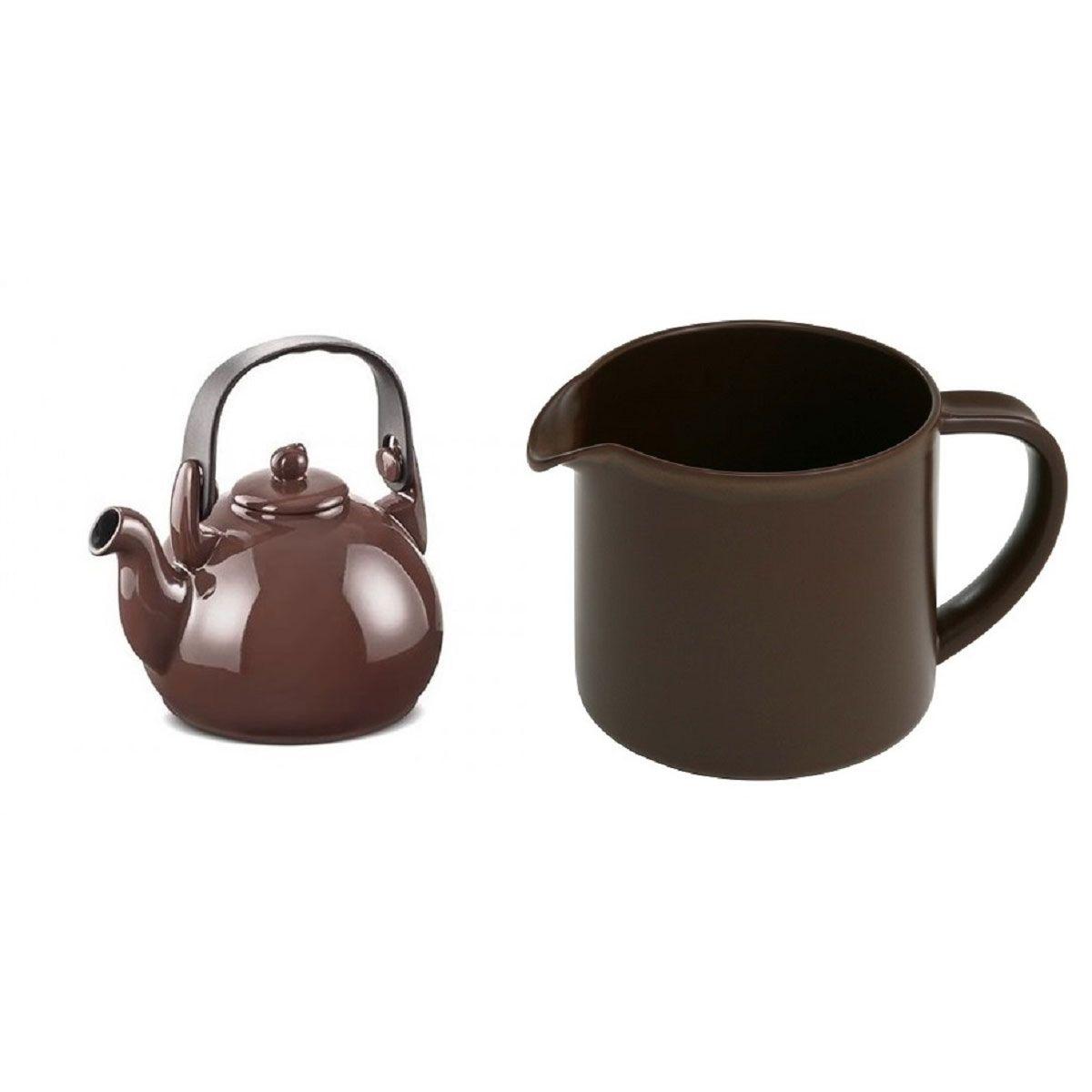 Kit Chaleira Colonial e Fervedor Ceraflame Marrom Chocolate