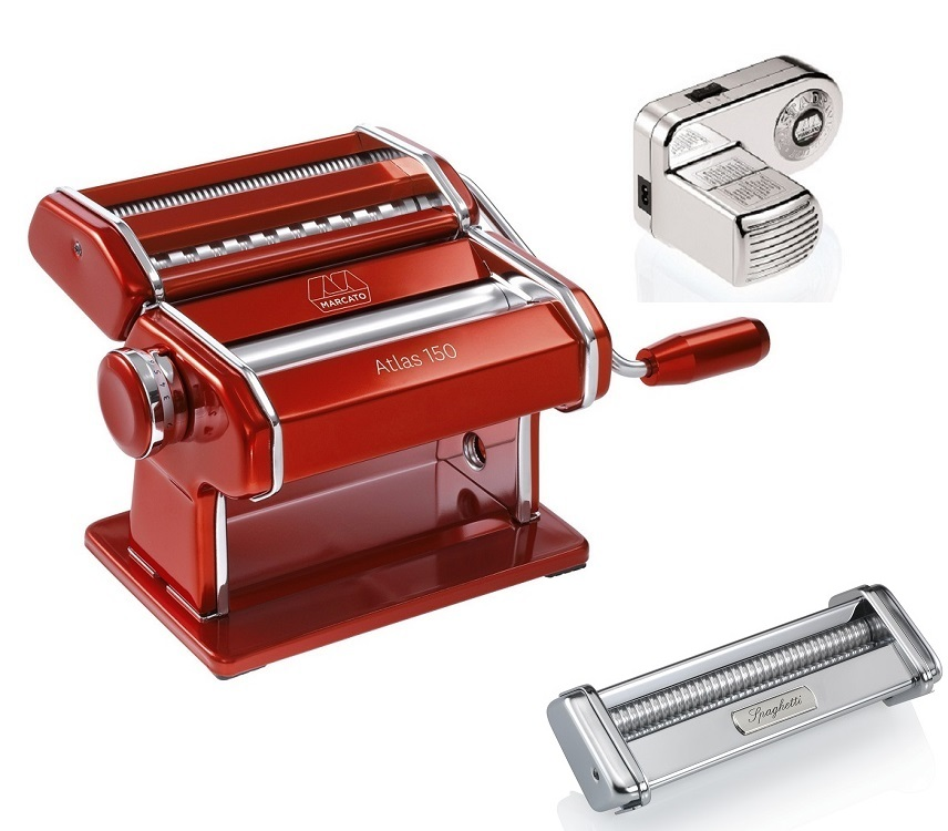 Kit Maquina De Macarrão Marcato RED + Motor 110v + Spaghetti