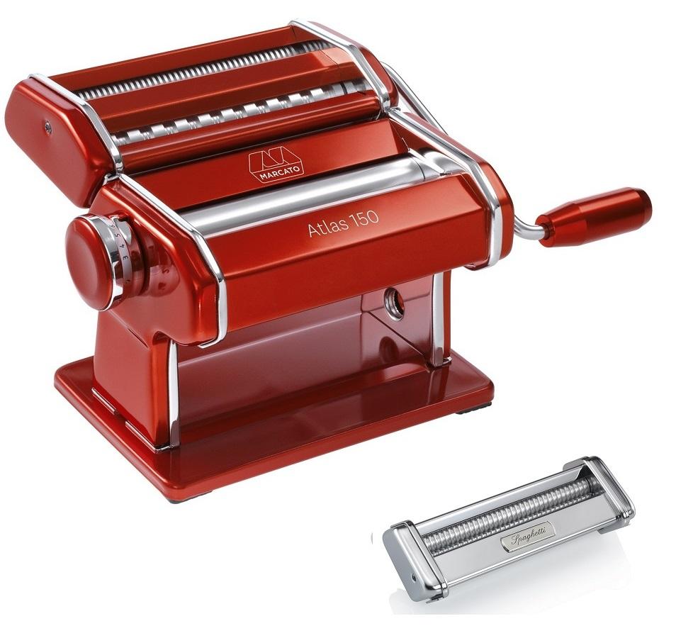 Maquina De Macarrão Marcato Atlas RED Com Acessório Spaghetti