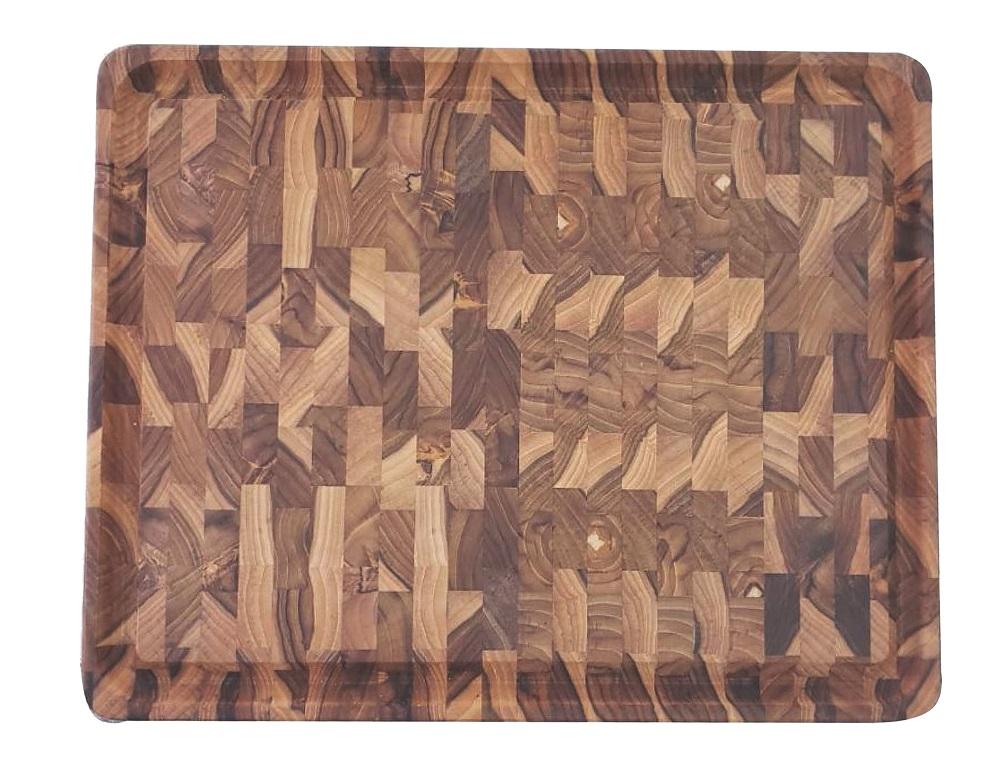 Tábua Para Cortar Em Madeira Teca Invertida Tramontina 45x34x3cm