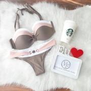 Biquíni Listras Nude - Rose - Branco