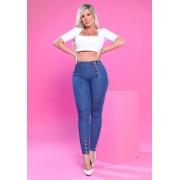 Calça Jeans Premium com Botões na Barra e Lateral