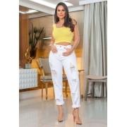 Calça Jeans Premium Destroyed Branca