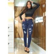 Calça Jeans Premium Destroyed Escura com Cinto de Brinde