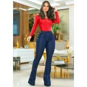 Calça Jeans Premium Modelador Botões Flare - Empina Bumbum