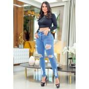 Calça Jeans Premium Modelador Desfiada 01 - Empina Bumbum