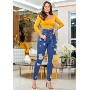 Calça Jeans Premium Modelador Destroyed 07 - Empina Bumbum