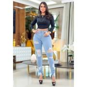 Calça Jeans Premium Modelador Destroyed 08 - Empina Bumbum